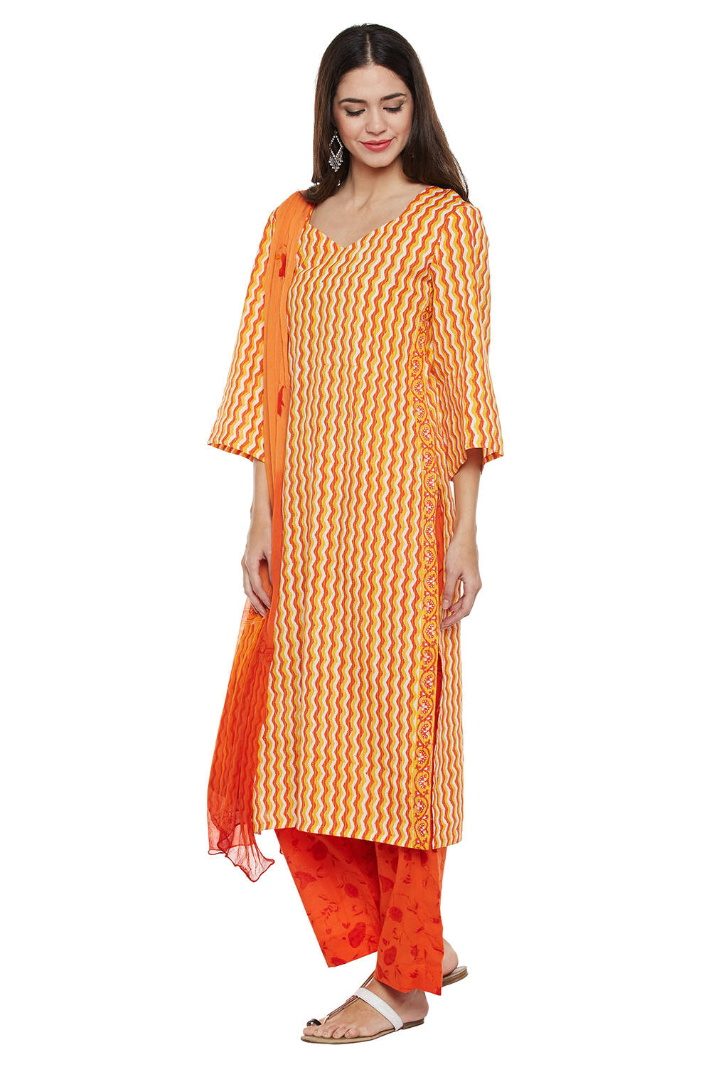 Cotton Block Printed Orange Dress
