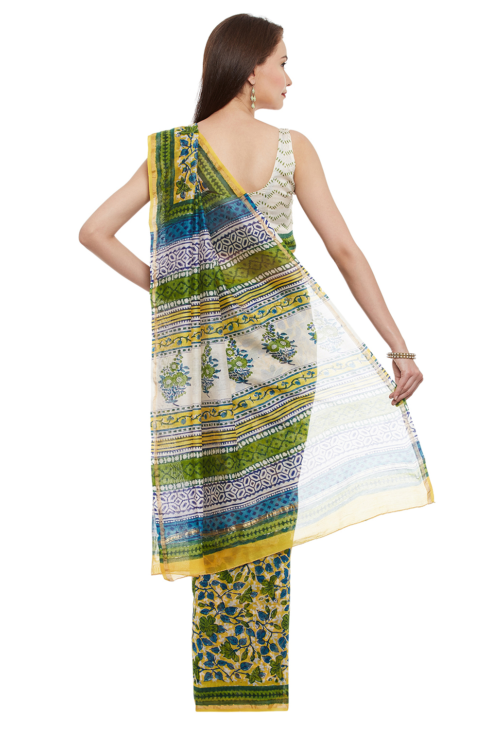 Green Floral Print Chanderi Silk Traditional Saree