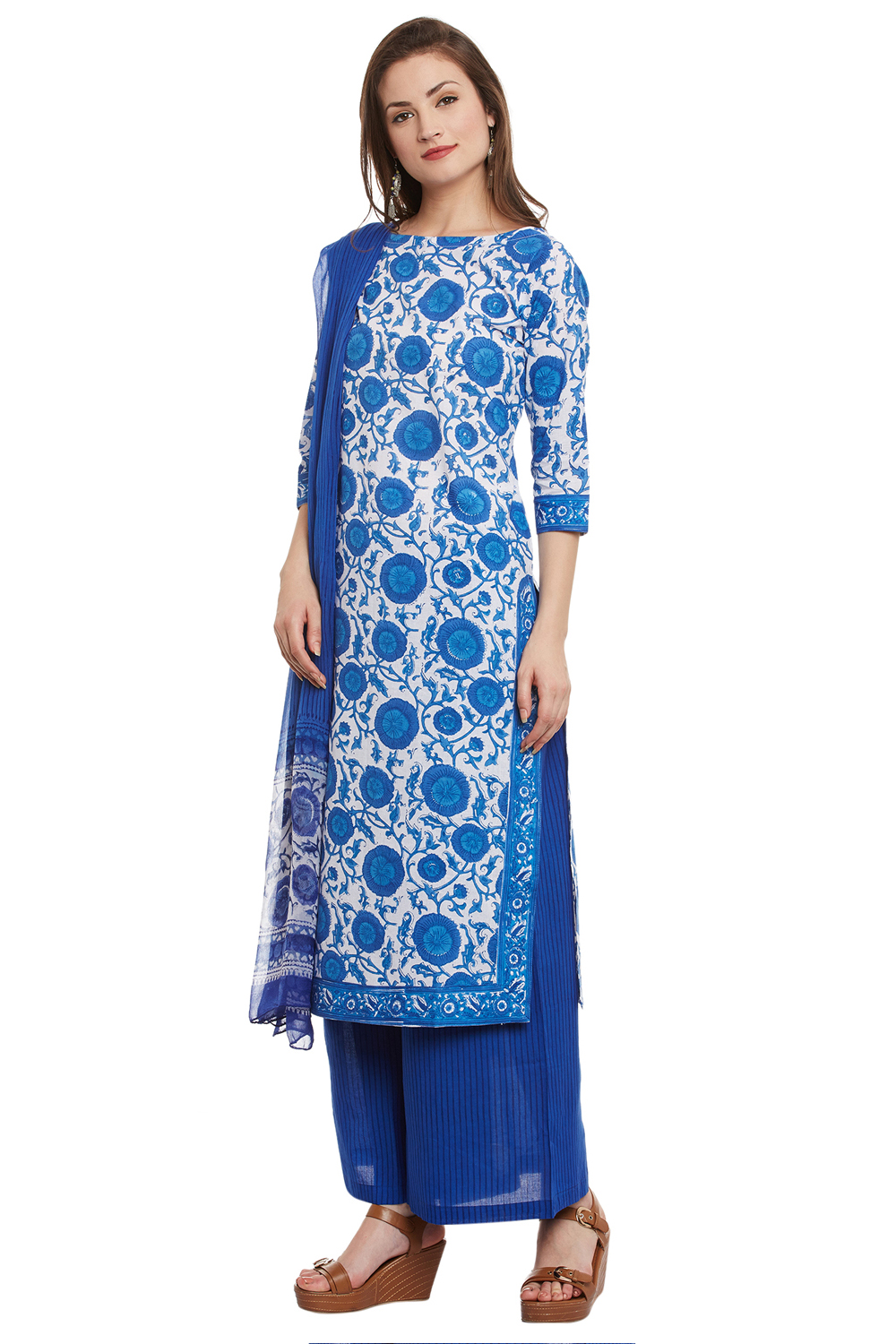 Blue Cotton Churidar Dress Material